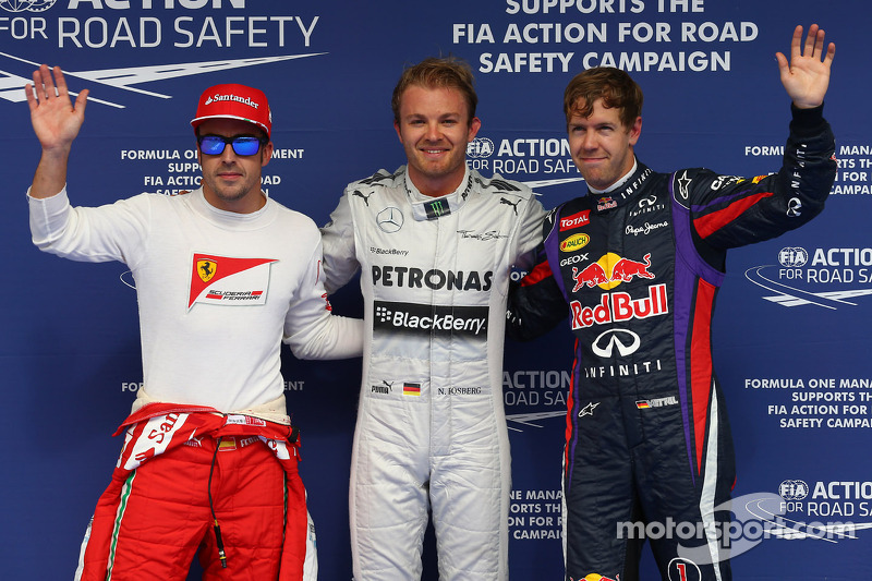 Pole for Nico Rosberg, Mercedes AMG F1 W04, 2nd for Sebastian Vettel, Red Bull Racing and 3rd for Fernando Alonso, Ferrari F138