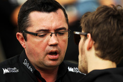 (L to R): Eric Boullier, Lotus F1 Team Principal with Romain Grosjean, Lotus F1 Team