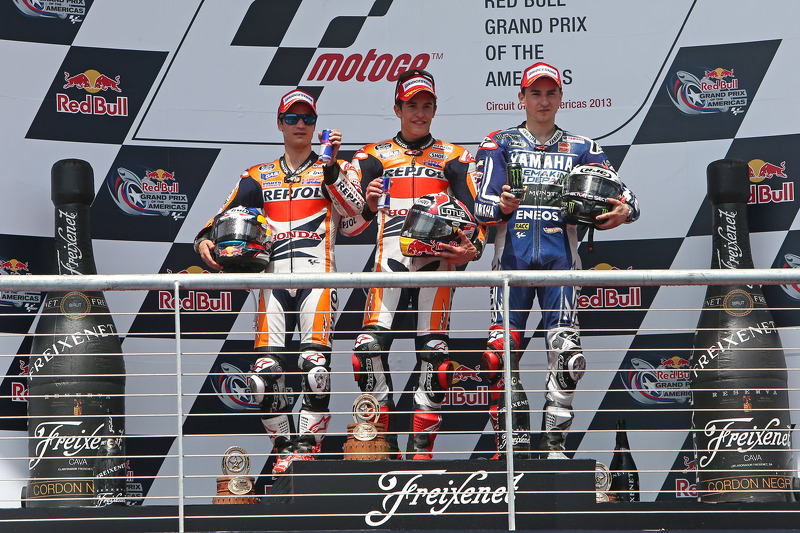 2013: 1. Marc Marquez, 2. Dani Pedrosa, 3. Jorge Lorenzo