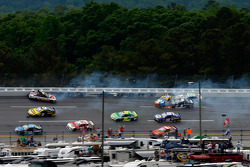 Crash involving many cars including Greg Biffle, Kyle Busch, Kasey Kahne and Casey Mears