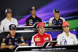 The FIA Press Conference, Esteban Gutierrez, Sauber; Daniel Ricciardo, Scuderia Toro Rosso; Valtteri Bottas, Williams; Sebastian Vettel, Red Bull Racing; Fernando Alonso, Ferrari; Sergio Perez, McLaren