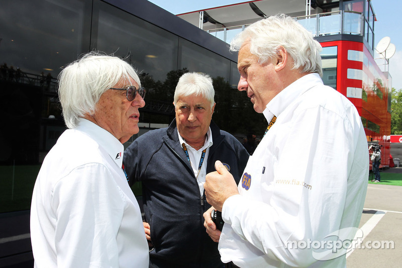 (L to R): Bernie Ecclestone, CEO Formula One Group, with Herbie Blash, FIA Delegate and Charlie Whit