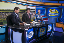 Carl Edwards on the set of Fox Sports during the rain delay