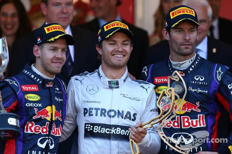 1e plaats Nico Rosberg, Mercedes AMG F1 W04, 2e plaats voor Sebastian Vettel, Red Bull Racing en 3e plaats voor Mark Webber, Red Bull Racing