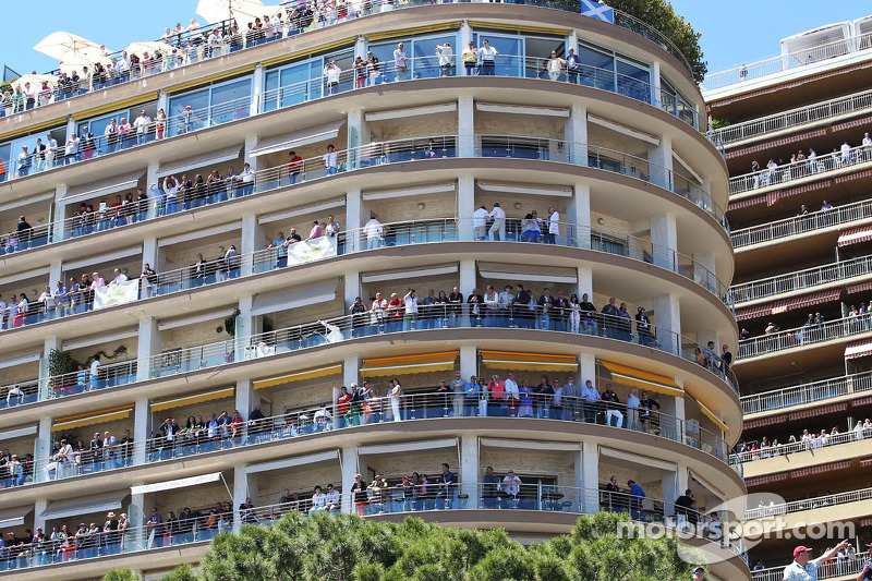 Fans on building balconies