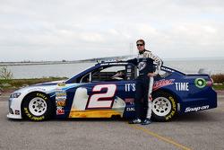 Brad Keselowski, Penske Racing Ford drives across the Mackinac Bridge to promote the upcoming race at Michigan International Speedway