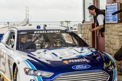 Brad Keselowski, Penske Racing Ford drives across the Mackinac Bridge to promote the upcoming race at Michigan International Speedway