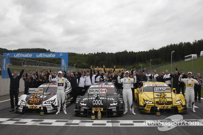 BMW-feest; 2e plaats Marco Wittmann, BMW Team MTEK BMW M3 DTM, 1e plaats Bruno Spengler, BMW Team Sc