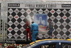 GTS winners celebrate Mark Wilkins, Kia Optima Dean Martin, Ford Mustang Boss 302S Alec Udell, Mustang Boss 302R