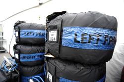 Droge bandenwarmers voor Lewis Hamilton, Mercedes AMG F1