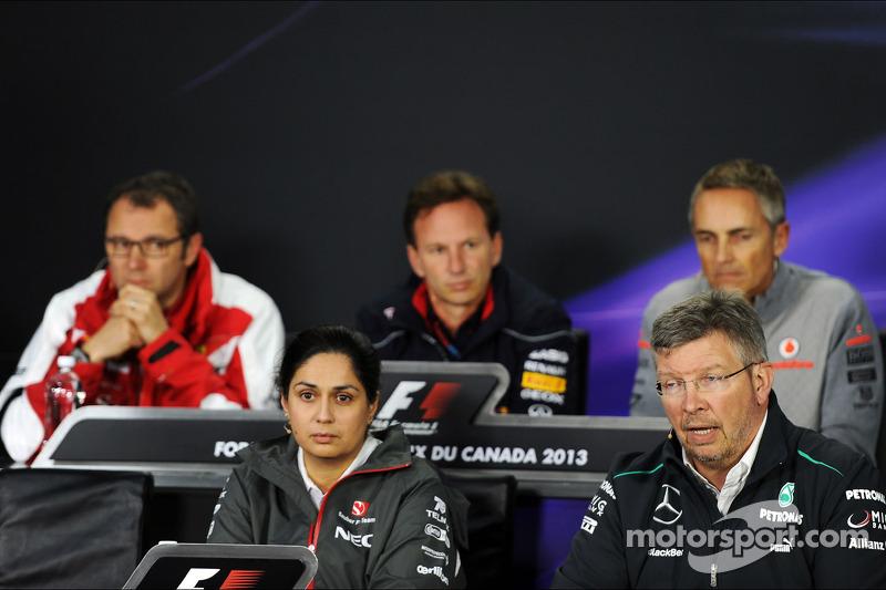 The FIA Press Conference, Ferrari General Director; Christian Horner, Red Bull Racing Team Principal; Martin Whitmarsh, McLaren Chief Executive Officer; Paul Hembery, Pirelli Motorsport Director, Sauber Team Principal; Ross Brawn, Mercedes AMG F1 Team Pri