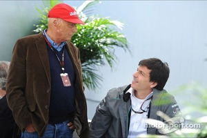 (L to R): Niki Lauda, Mercedes Non-Executive Chairman with Toto Wolff, Mercedes AMG F1 Shareholder and Executive Director