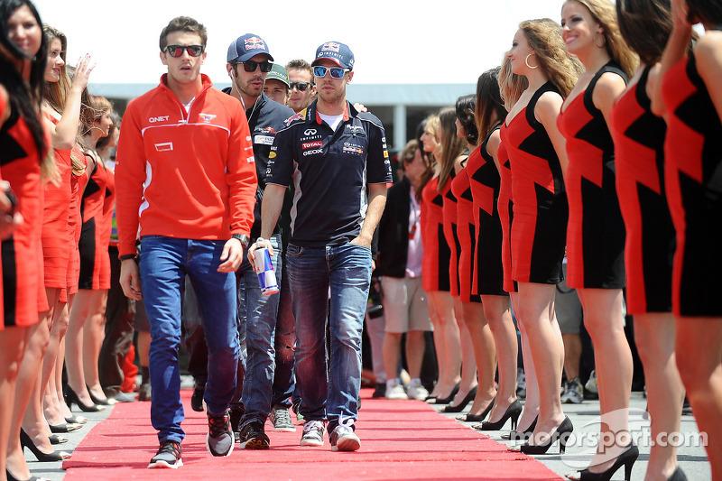 Jules Bianchi, Marussia F1 Team, Jean-Eric Vergne, Scuderia Toro Rosso and Sebastian Vettel, Red Bull Racing