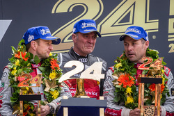 LMP1 podium: Allan McNish and Tom Kristensen with Dr. Wolfgang Ullrich