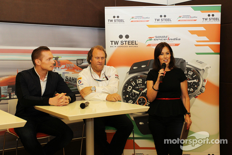Jordy Cobelens, CEO TW Steel; Robert Fernley, Sahara Force India F1 Team Deputy Team Principal; Lee McKenzie, BBC Television Reporter at a TW Steel media call.