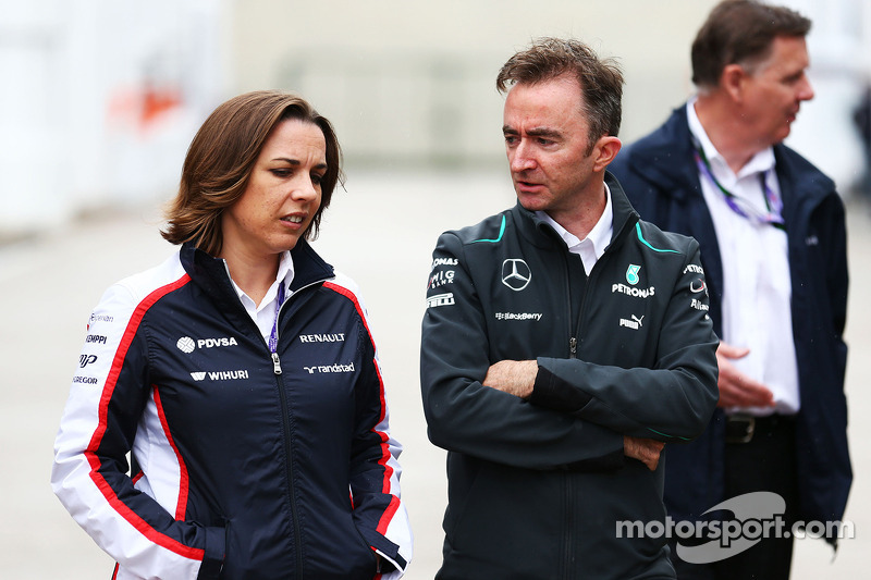 Claire Williams, Adjunct-teambaas Williams met Paddy Lowe, Mercedes AMG F1 Executive Director (Technical)