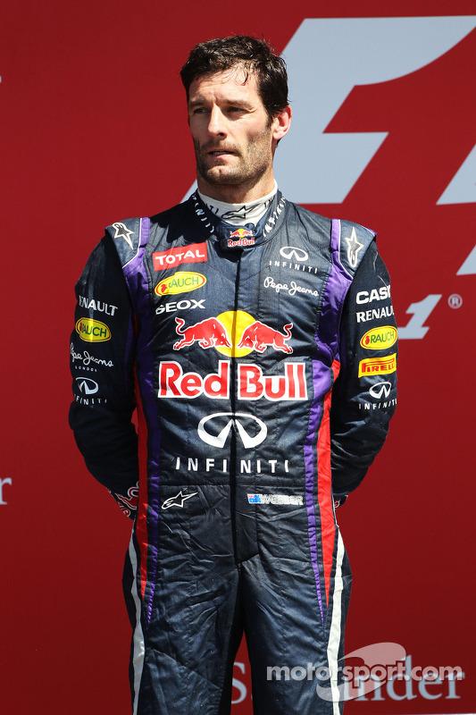 Mark Webber Red Bull Racing no pódio