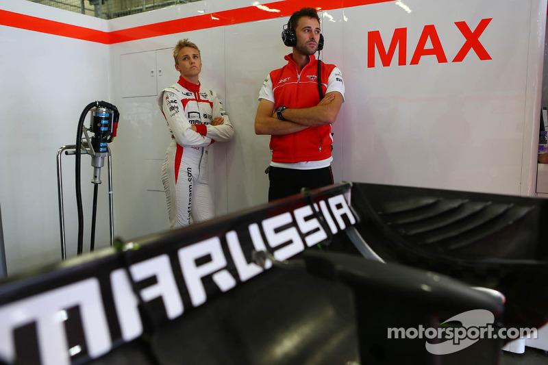 Max Chilton, Marussia F1 Team MR02 with Sam Village, Marussia F1 Team