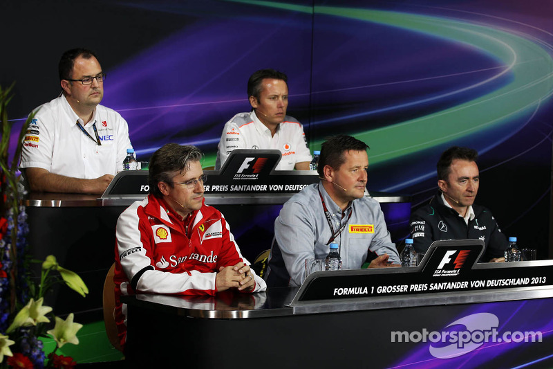 The FIA Press Conference, Sauber F1 Team Head of Track Engineering; Sam Michael, McLaren Sporting Director; Pat Fry, Ferrari Deputy Technical Director and Head of Race Engineering; Paul Hembery, Pirelli Motorsport Director; Paddy Lowe, Mercedes AMG F1 Exe