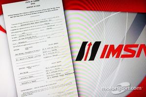 The new IMSA logo and the original IMSA registration paper