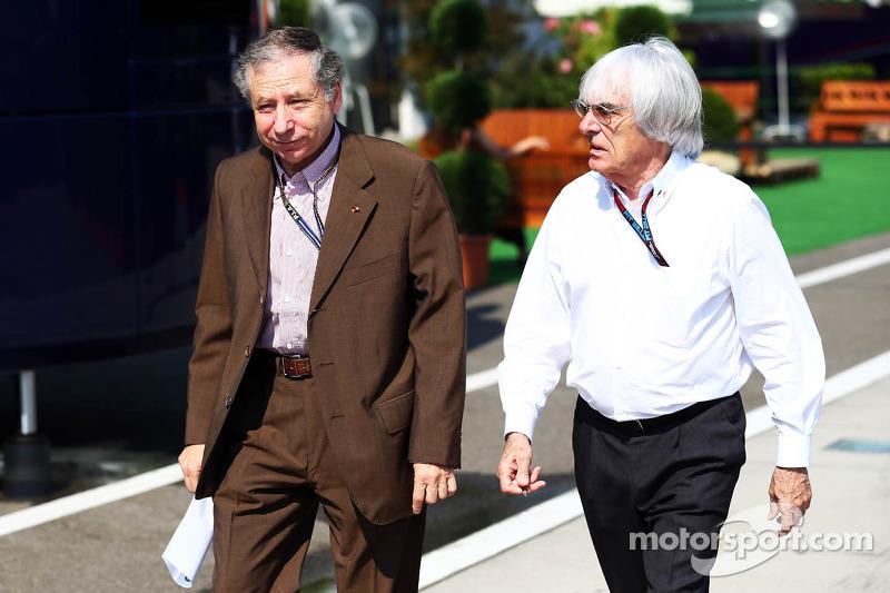 (L to R): Jean Todt, FIA President with Bernie Ecclestone, CEO Formula One Group