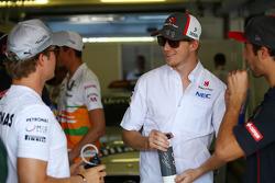 (L to R): Nico Rosberg, Mercedes AMG F1 with Nico Hulkenberg, Sauber and Daniel Ricciardo, Scuderia Toro Rosso
