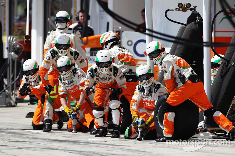 Sahara Force India F1 Team await a pit stop at Hungarian GP