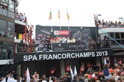 Overall podium: winners Maximilian Buhk, Maximilian Götz, Bernd Schneider, second place Marc Lieb, Richard Lietz, Patrick Pilet, third place Frank Stippler, Christopher Mies, Andre Lotterer