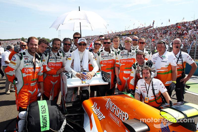 Adrian Sutil, Sahara Force India F1 viert 100 GP's met het team op de grid