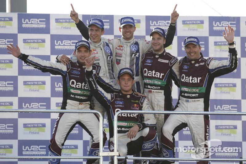 Переможці Себастьєн Ожьє та Жюльєн Інграссія, Volkswagen Polo WRC, Volkswagen Motorsport, друге місце Тьєррі Невіль і Ніколя Гілсоул, Ford Fiesta WRC, Катар M-Sport WRT, третє місце Мадс Остберг і Йонас Андерссон, Ford Fiesta RS WRC, Qatar М-Sport