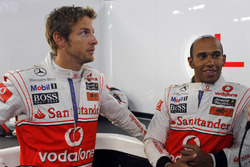 Jenson Button, McLaren, with Lewis Hamilton, McLaren