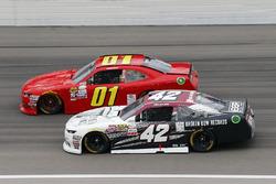 Tyler Reddick, Chip Ganassi Racing Chevrolet and Harrison Rhodes, JD Motorsports Chevrolet