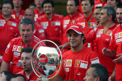 Ferrari team celebration to celebrate the first win for Felipe Massa, Ferrari