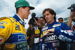 Alain Prost, Williams, con Michael Schumacher, Benetton