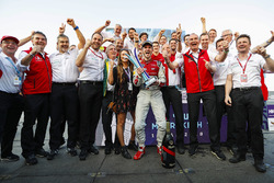 Daniel Abt, Audi Sport ABT Schaeffler, celebrates with Allan McNish, Team Principal, Audi Sport Abt Schaeffler, the rest of the team after winning the race