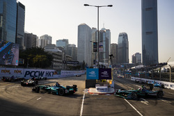 Oliver Turvey, NIO Formula E Team leads Nelson Piquet Jr., Jaguar Racing