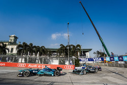 Oliver Turvey, NIO Formula E Team, leads Nelson Piquet Jr., Jaguar Racing