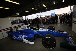 Takuma Sato's car and Borg Warner Trophy was displayed at the pit