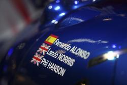 Dettaglio della portiera della sportscar di Fernando Alonso, Lando Norris, Phil Hanson