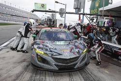 #86 Michael Shank Racing Acura NSX, GTD: Katherine Legge, Alvaro Parente, Trent Hindman, A.J. Allmendinger au stand