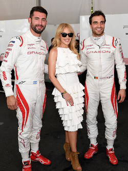Kylie Minogue with race drivers Jose Maria Lopez, Dragon Racing, Jérôme d'Ambrosio, Dragon Racing