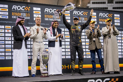 Runner up Petter Solberg is presented with his trophy