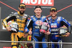 Podium: ganador, Lucas Mahias, GRT Yamaha Official WorldSSP Team, segundo, Randy Krummenacher, BARDAHL Evan Bros. WorldSSP Team, tercero, Sandro Cortese, Kallio Racing