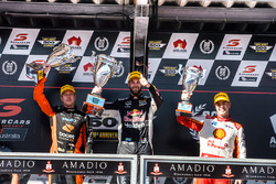 Podium: race winner Shane van Gisbergen, Triple Eight Race Engineering Holden, second place James Courtney, Walkinshaw Andretti United Holden, third place Scott McLaughlin, DJR Team Penske Ford