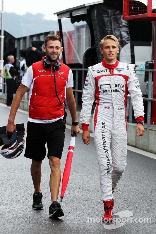 Max Chilton, Marussia F1 Team met Sam Village, Marussia F1 Team