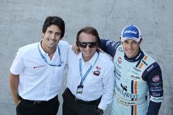 Lucas di Grassi, con Emerson Fittipaldi, y Bruno Senna, Aston Martin