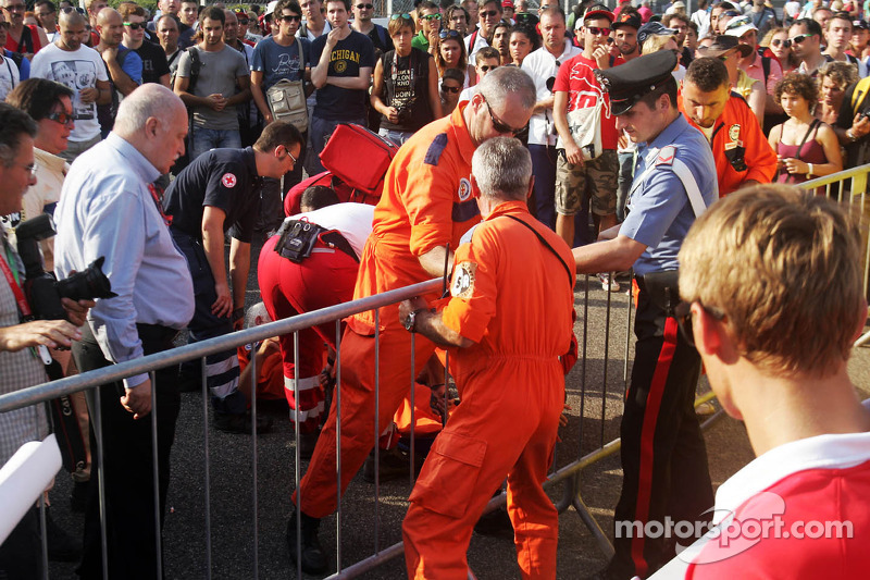 Medical attention is required at the drivers autograph signing session in the pits