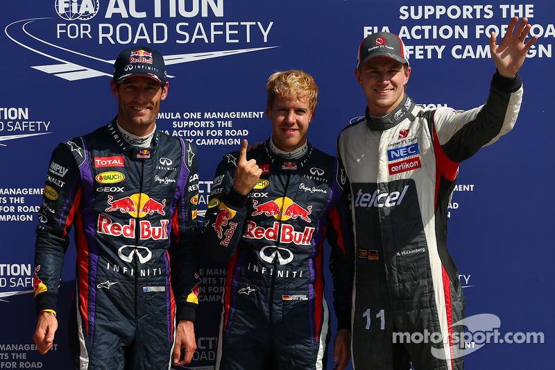 Pole position for Sebastian Vettel, Red Bull Racing, 2nd for Mark Webber, Red Bull Racing and 3rd for Nico Hulkenberg, Sauber