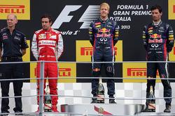 Podium: second place Fernando Alonso, Scuderia Ferrari, race winner Sebastian Vettel, Red Bull Racing and third place Mark Webber, Red Bull Racing