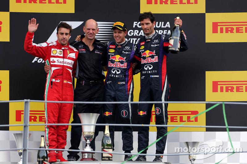 Fernando Alonso, Scuderia Ferrari, Sebastian Vettel, Red Bull Racing and Mark Webber, Red Bull Racin